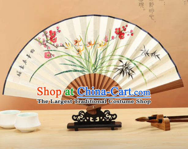 Chinese Hand Painting Orchid Plum Paper Fan Traditional Classical Dance Accordion Fans Folding Fan