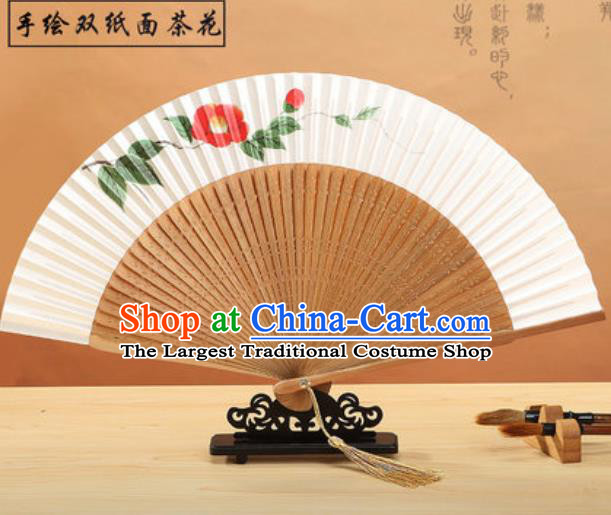Chinese Traditional Hand Painting Camellia Paper Fan Classical Dance Accordion Bamboo Fans Folding Fan