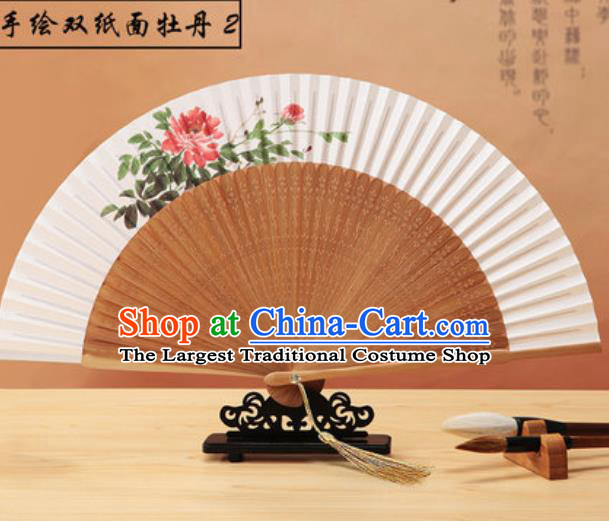 Chinese Traditional Hand Painting Peony Paper Fan Classical Dance Accordion Bamboo Fans Folding Fan