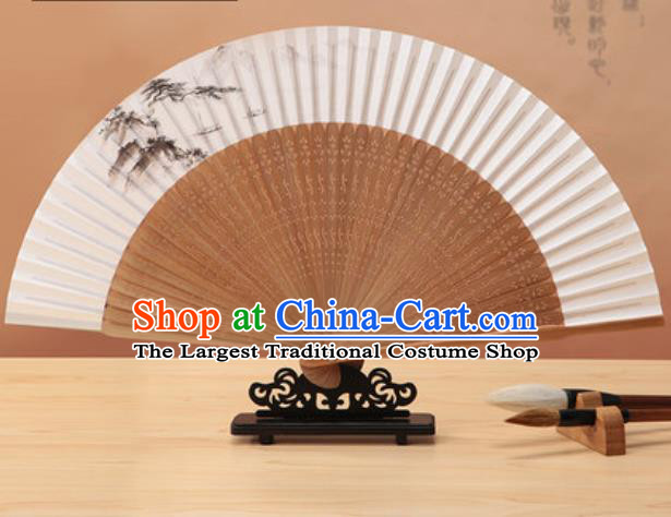 Chinese Traditional Hand Painting Pine Paper Fan Classical Dance Accordion Bamboo Fans Folding Fan