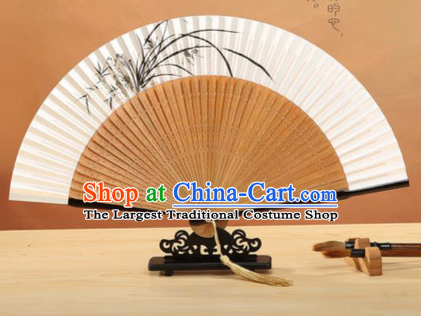 Chinese Traditional Hand Ink Painting Orchid Paper Fan Classical Dance Accordion Bamboo Fans Folding Fan