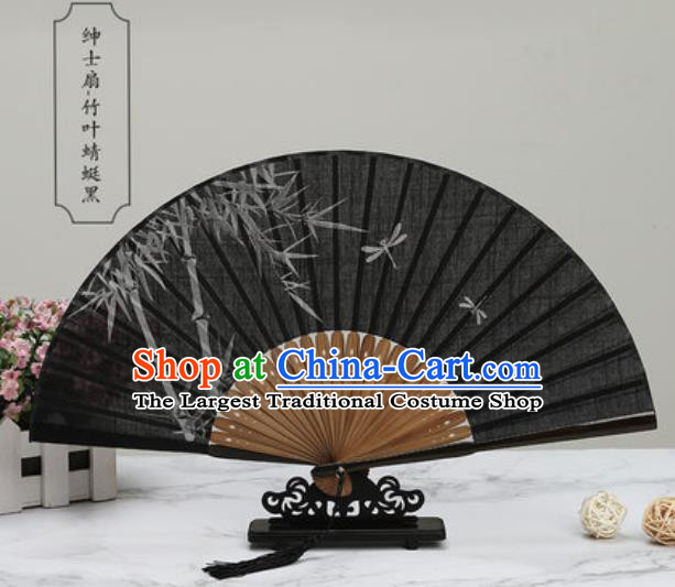 Chinese Traditional Printing Bamboo Black Silk Fan Classical Dance Accordion Fans Folding Fan