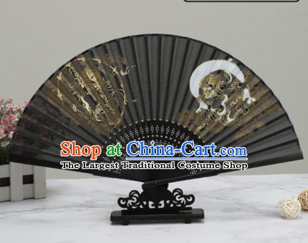 Chinese Traditional Printing Tigers Black Silk Fan Classical Dance Accordion Fans Folding Fan