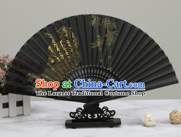 Chinese Traditional Printing Tiger Bamboo Black Silk Fan Classical Dance Accordion Fans Folding Fan