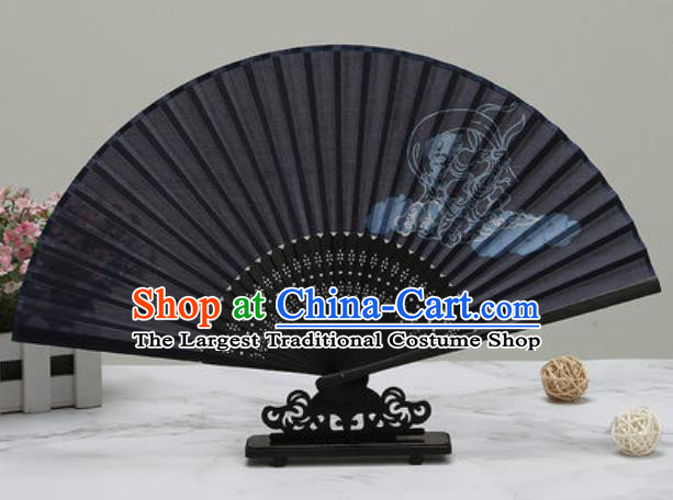Chinese Traditional Printing Peony Black Silk Fan Classical Dance Accordion Fans Folding Fan