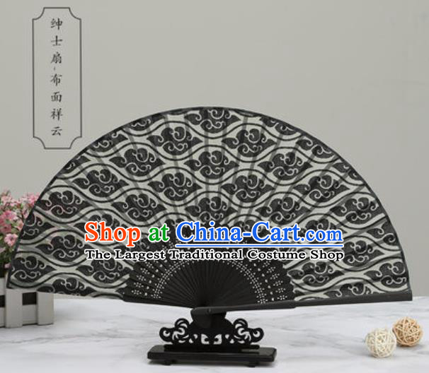 Chinese Traditional Printing Clouds Black Silk Fan Classical Dance Accordion Fans Folding Fan