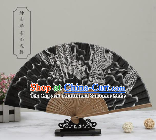 Chinese Traditional Printing Dragon Black Silk Fan Classical Dance Accordion Fans Folding Fan