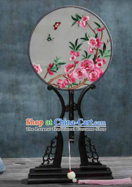 Handmade Chinese Embroidered Peach Blossom Butterfly Ebony Silk Fans Traditional Classical Dance Palace Fan for Women