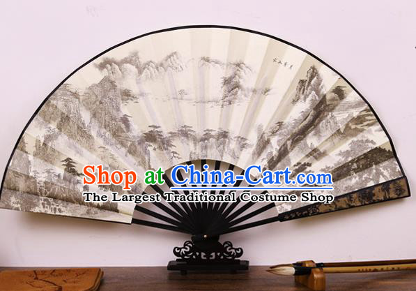 Handmade Chinese Printing Landscape Bamboo Silk Fan Traditional Classical Dance Accordion Fans Folding Fan