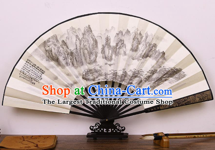 Handmade Chinese Printing Mountains Bamboo Silk Fan Traditional Classical Dance Accordion Fans Folding Fan
