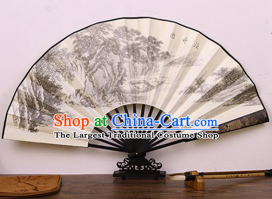 Handmade Chinese Printing Boat Bamboo Silk Fan Traditional Classical Dance Accordion Fans Folding Fan