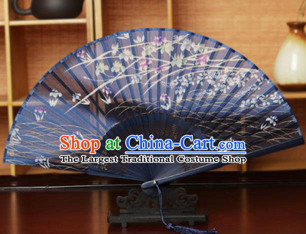 Handmade Chinese Printing Flowers Navy Silk Fan Traditional Classical Dance Accordion Fans Folding Fan