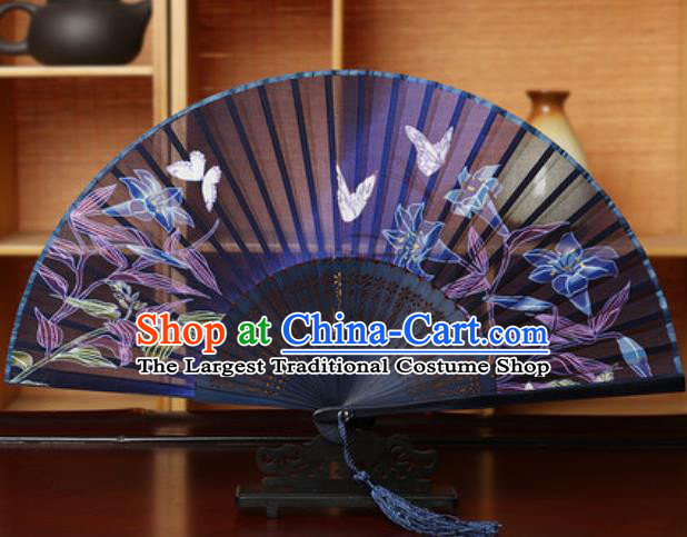Handmade Chinese Printing Tuberose Purple Silk Fan Traditional Classical Dance Accordion Fans Folding Fan
