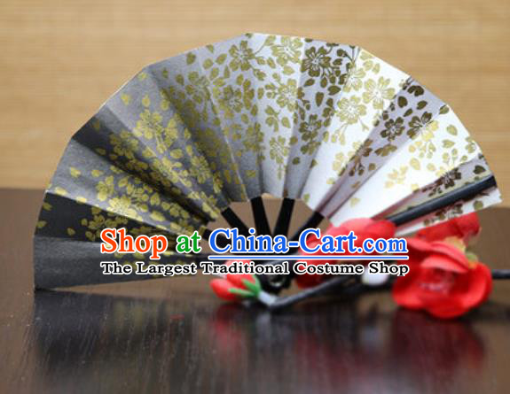 Handmade Chinese Printing Sakura Black Fan Traditional Classical Dance Accordion Fans Folding Fan