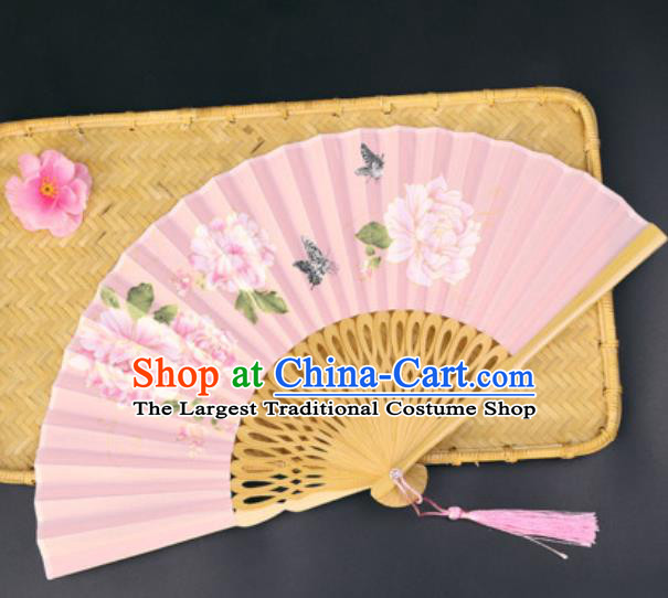 Handmade Chinese Printing Peony Pink Silk Fan Traditional Classical Dance Accordion Fans Folding Fan
