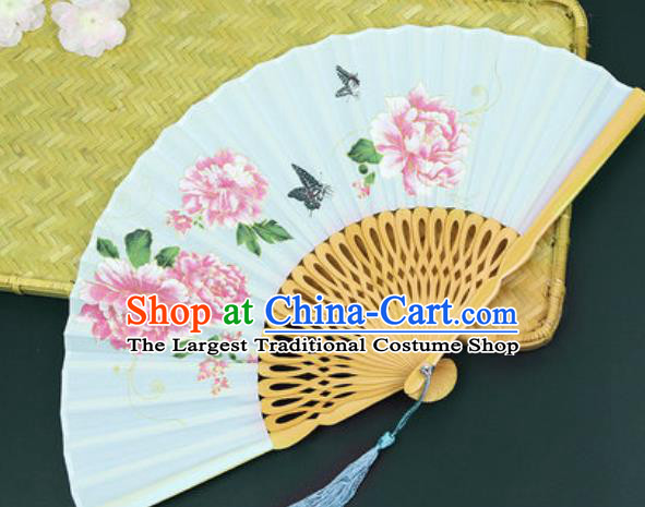 Handmade Chinese Printing Peony Light Green Silk Fan Traditional Classical Dance Accordion Fans Folding Fan