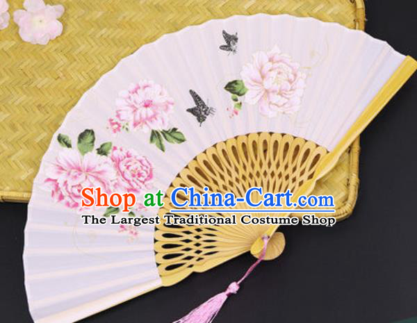 Handmade Chinese Printing Peony Light Pink Silk Fan Traditional Classical Dance Accordion Fans Folding Fan