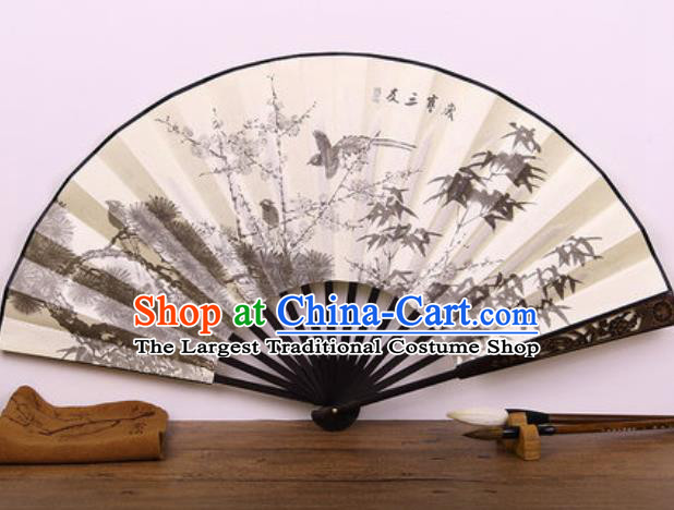 Handmade Chinese Ink Painting Pine Bamboo Plum Carving Fan Traditional Classical Dance Accordion Fans Folding Fan