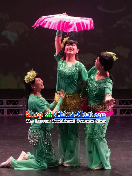 Chinese Trio Happy Spring Fan Dance Green Outfits Traditional Folk Dance Stage Performance Costume for Women