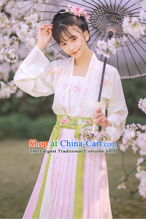 Chinese Traditional Song Dynasty Country Girl Hanfu Dress Ancient Historical Costumes Young Lady Garment