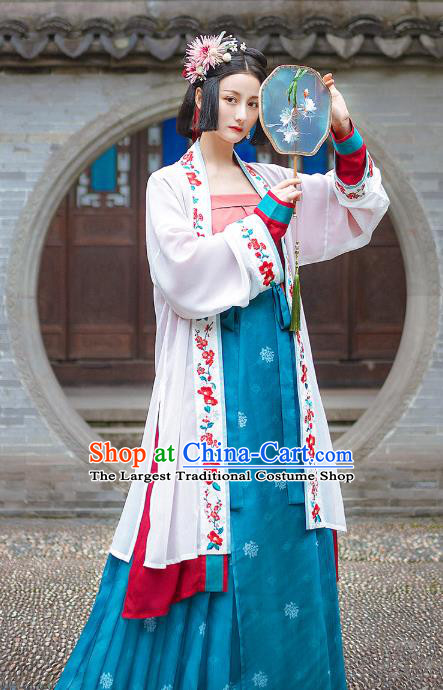 Chinese Traditional Hanfu Dress Song Dynasty Historical Costumes Ancient Noble Lady Embroidered Garment Apparels