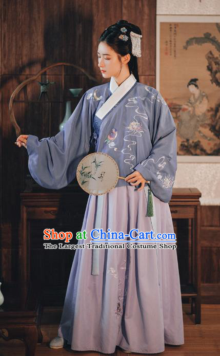 Chinese Traditional Ming Dynasty Patrician Female Hanfu Dress Ancient Princess Embroidered Blouse and Skirt Historical Costumes for Women