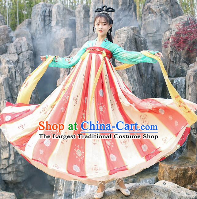 Chinese Traditional Ancient Palace Lady Apparels Tang Dynasty Royal Princess Hanfu Dress Historical Costumes for Women