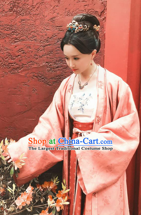 Chinese Ancient Song Dynasty Noble Consort Hanfu Dress Garment and Headpieces Drama Serenade of Peaceful Joy Court Female Historical Costumes