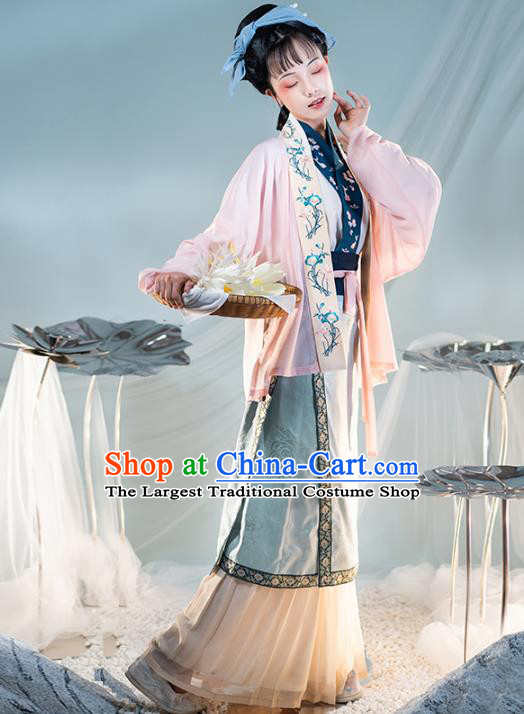 Chinese Ancient Country Women Hanfu Dress Traditional Garment Song Dynasty Civilian Lady Apparels Historical Costumes Complete Set