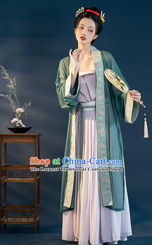 Chinese Traditional Song Dynasty Historical Costumes Ancient Nobility Lady Hanfu Dress Garment Apparels Complete Set