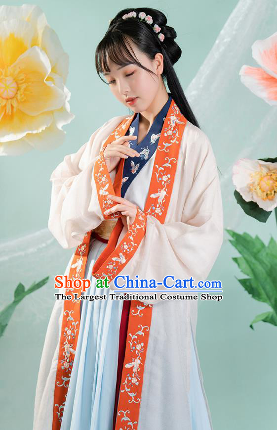 Chinese Traditional Song Dynasty Historical Costumes Ancient Royal Princess Hanfu Dress Young Lady Apparels Complete Set