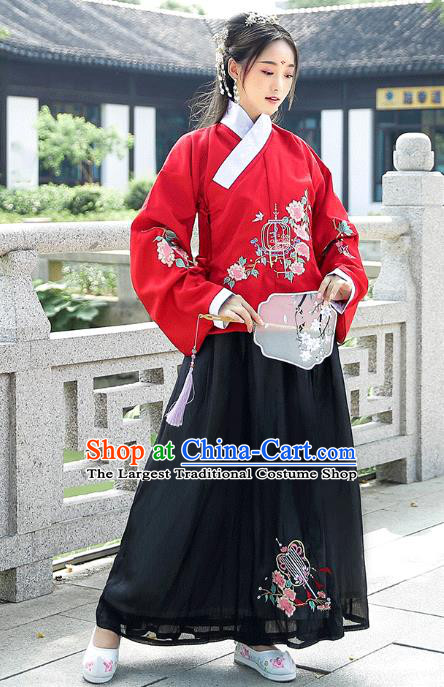 Chinese Traditional Ming Dynasty Patrician Lady Hanfu Dress Ancient Historical Costumes Red Blouse and Black Skirt Complete Set
