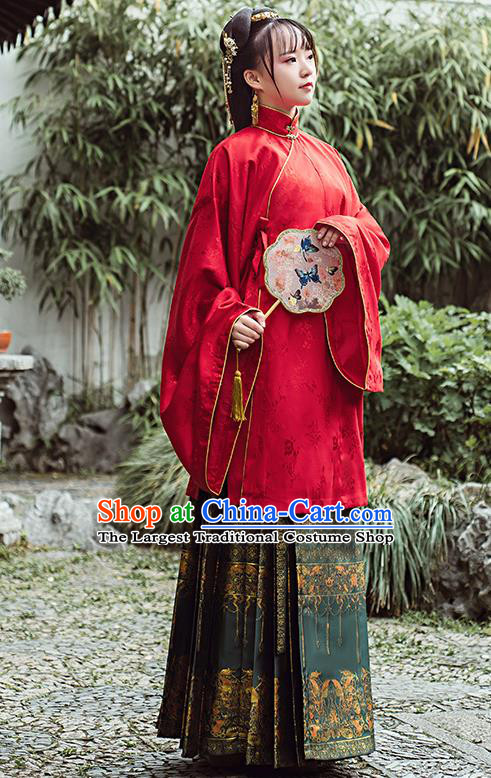 Chinese Traditional Ancient Patrician Lady Hanfu Dress Ming Dynasty Red Blouse and Green Brocade Skirt Historical Costumes Complete Set