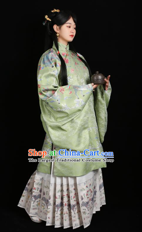 Chinese Traditional Ming Dynasty Patrician Female Historical Costumes Ancient Noble Lady Hanfu Dress Blouse and Skirt Complete Set