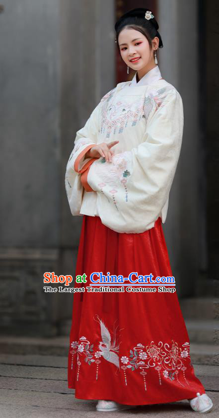 Traditional Chinese Ancient Civilian Lady Embroidered Hanfu Dress Garment Ming Dynasty Historical Costumes Blouse and Skirt Complete Set