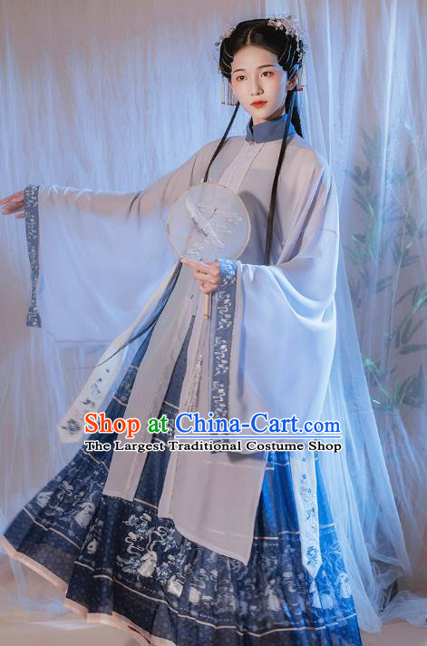 Chinese Traditional Ming Dynasty Patrician Lady Historical Costumes Ancient Noble Woman Embroidered Hanfu Dress Garment Complete Set