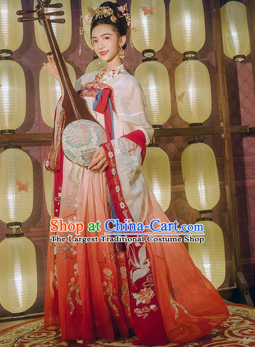 Chinese Traditional Tang Dynasty Embroidered Hanfu Dress Ancient Court Princess Garment Historical Costumes Complete Set