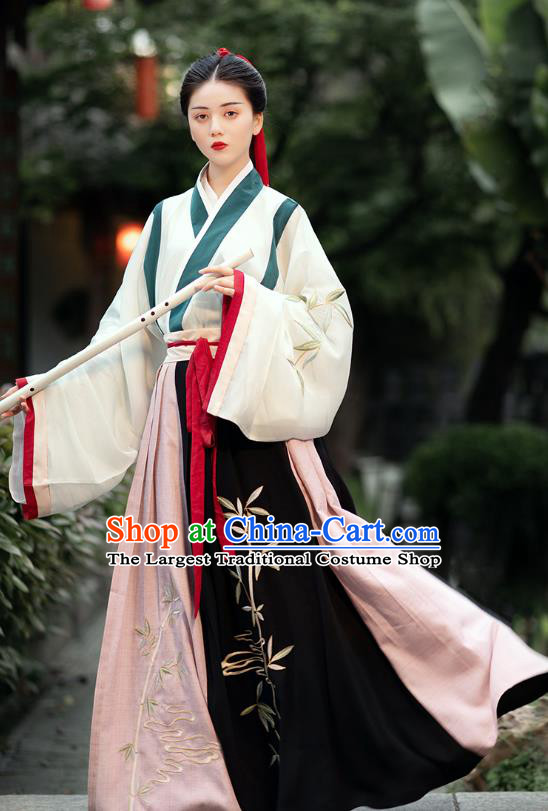 Chinese Ancient Female Swordsman Hanfu Dress Traditional Jin Dynasty Historical Costumes Complete Set for Women