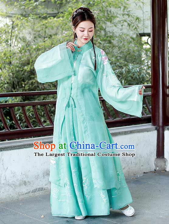 Chinese Ming Dynasty Historical Costumes Traditional Apparels Ancient Patrician Lady Green Hanfu Dress for Women