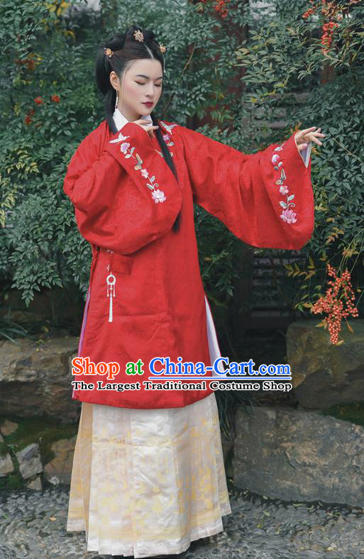 Chinese Ming Dynasty Noble Lady Apparels Traditional Hanfu Dress Ancient Women Historical Costumes Blouse and Skirt Complete Set