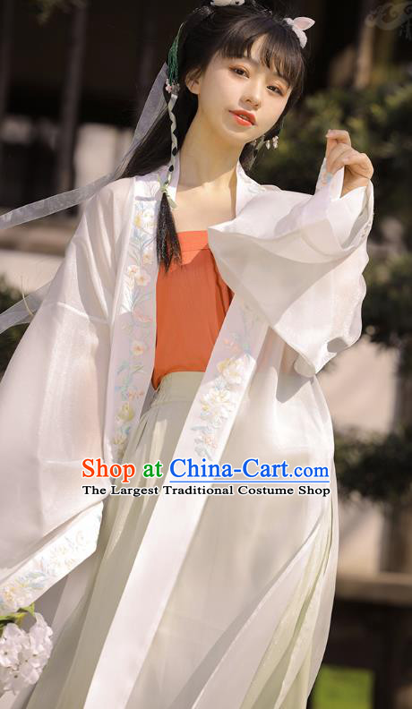 Chinese Ancient Young Lady Embroidered Hanfu Dress Traditional Song Dynasty Apparels Historical Costumes Complete Set
