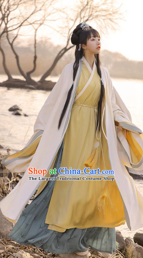 Chinese Ancient Patrician Lady Embroidered Hanfu Dress Traditional Song Dynasty Historical Costumes Noble Female Apparels Complete Set