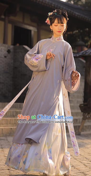 Chinese Ancient Ming Dynasty Patrician Woman Historical Costumes Traditional Embroidered Hanfu Dress Apparels