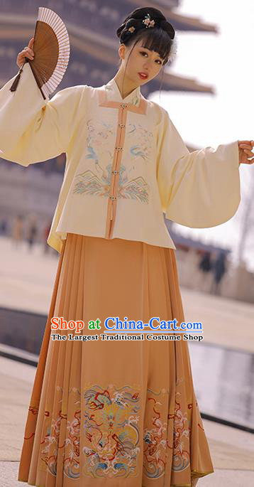 Chinese Traditional Apparels Historical Costumes Ancient Ming Dynasty Noble Lady Embroidered Hanfu Dress for Woman