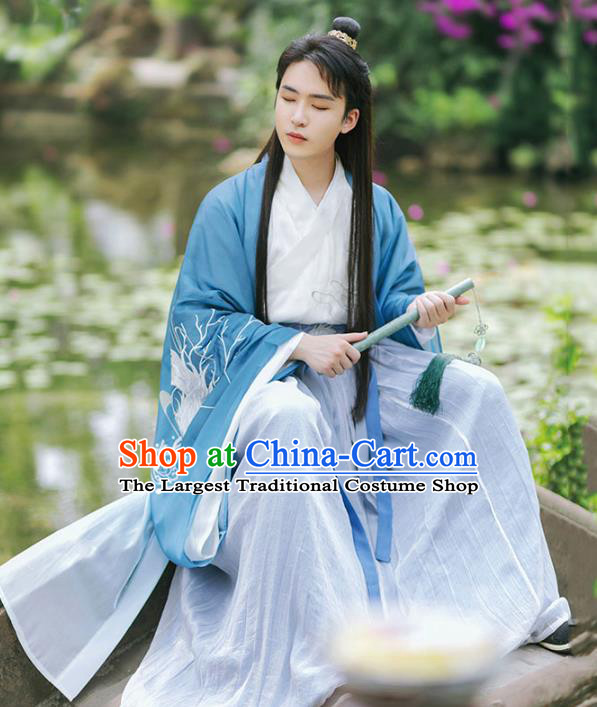 Chinese Traditional Ming Dynasty Swordsman Historical Costumes Ancient Nobility Scholar Hanfu Apparels Complete Set for Men