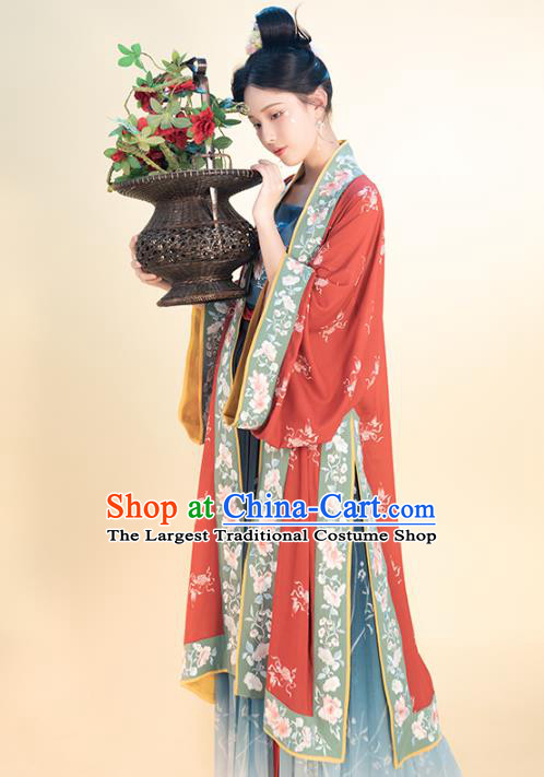 Chinese Traditional Song Dynasty Young Lady Historical Costumes Ancient Nobility Girl Hanfu Dress Apparels Complete Set