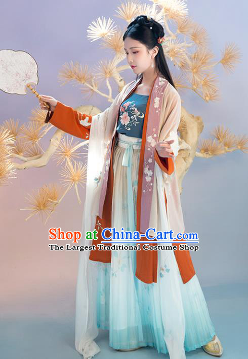 Chinese Traditional Embroidered Apparels Ancient Song Dynasty Young Lady Hanfu Dress Historical Costumes Complete Set