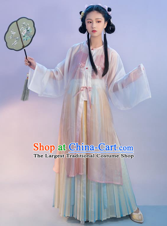 Chinese Traditional Ming Dynasty Young Lady Embroidered Apparels Ancient Noble Female Hanfu Dress Historical Costumes Complete Set for Women