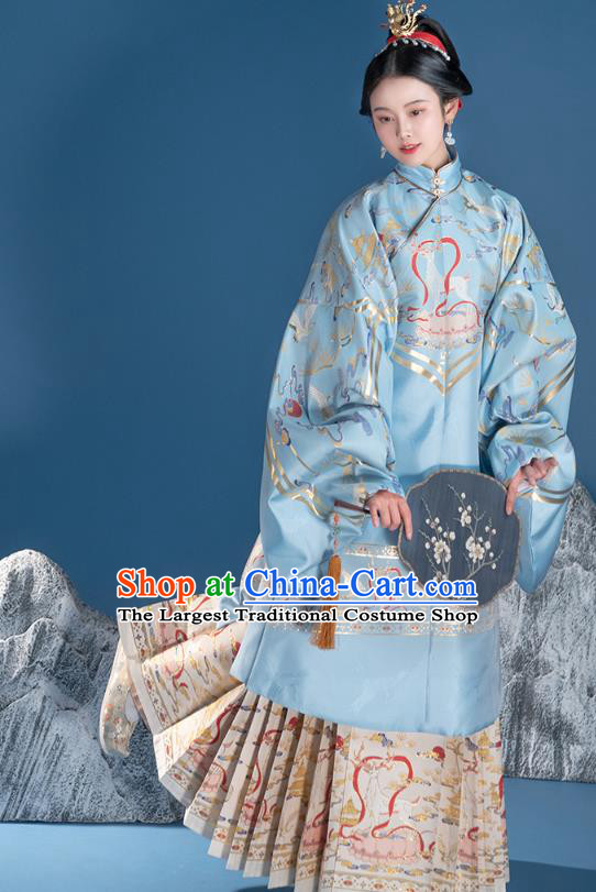 Chinese Traditional Ming Dynasty Noble Lady Embroidered Apparels Ancient Royal Princess Hanfu Dress Historical Costumes Blue Long Blouse and Skirt Complete Set