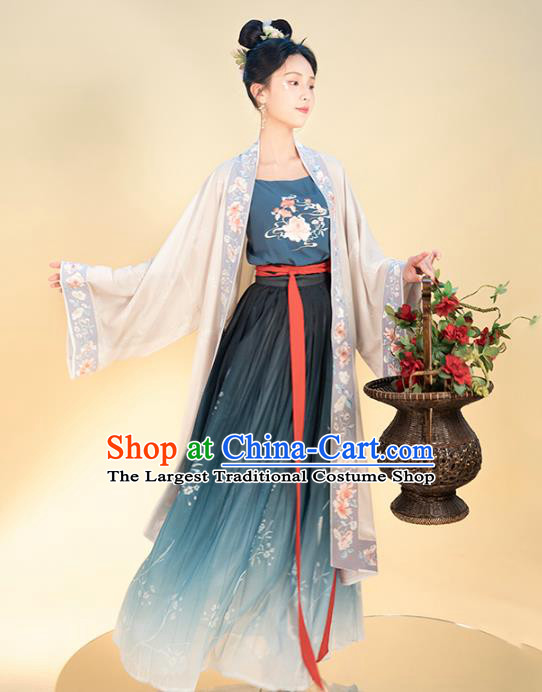Chinese Traditional Song Dynasty Civilian Female Apparels Ancient Young Lady Hanfu Dress Historical Costumes Complete Set